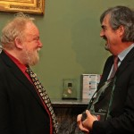 Prof Frank McGuinness receives the Irish PEN Lifetime Award for Literature from twice Booker nominated Sebastian.Barry